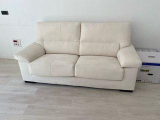 Conjunto sofás 3+2 en piel color blanco