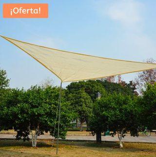 Toldo Tipo Vela Triangular Crema Exterior 3x3x3m