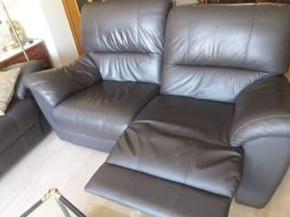 2 sofas de tres plazas de piel, extensible