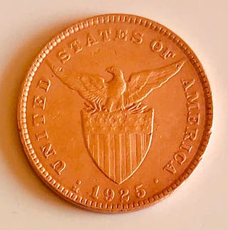 Bonita moneda Bronce Filipinas 1925 Periodo USA