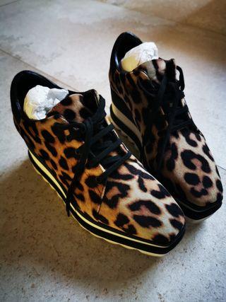 Stella McCartney zapatos terciopelo leopardo