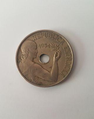 MONEDA 25 CÉNTIMOS 1934 SEGUNDA REPÚBLICA