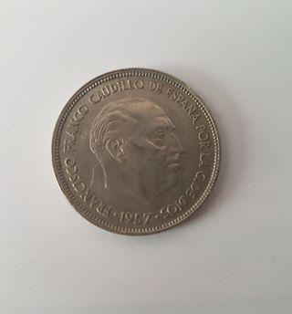 MONEDA ESPAÑA 25 PESETAS 1957 - FRANCISCO FRANCO