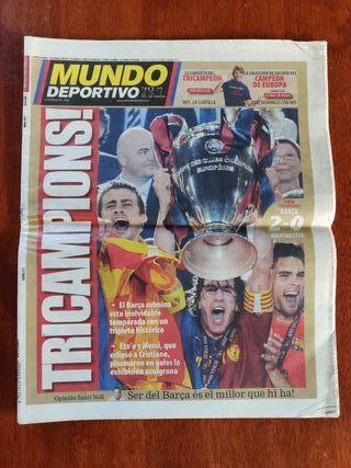 Periódicos deportivos Champions 2009 triplete