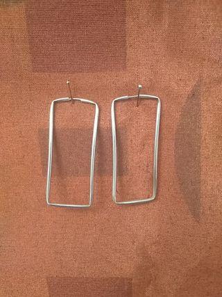 Aros en plata de ley rectangulares