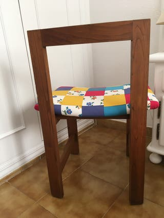 Silla madera patchwork
