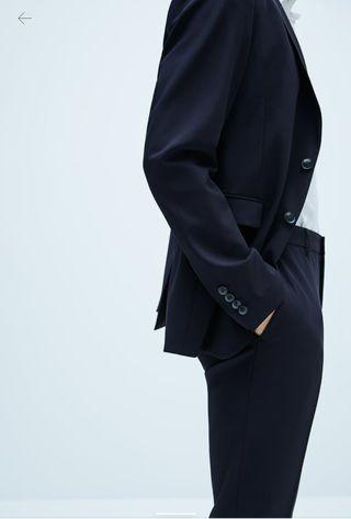 Traje blazer básico azul zara XS