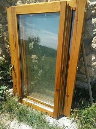 2 Ventanas de madera con doble cristal