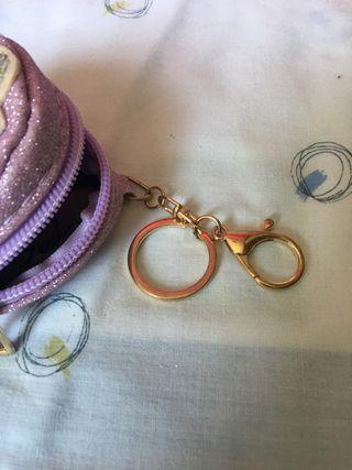 Monedero, llavero LOL purpurina y lentejuelas
