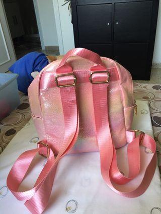 Mochila infantil niña rosa purpurina brillante