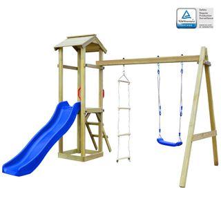 Parque infantil con tobogán, escaleras y columpio