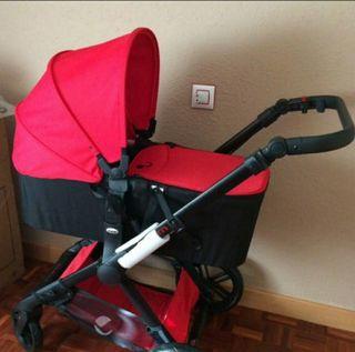 carrito bebe 3 en 1 Jane Muum rojo y negro