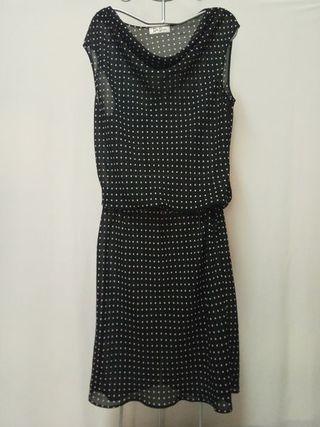 Vestido Betty Barclay negro topos blancoroto 42-44