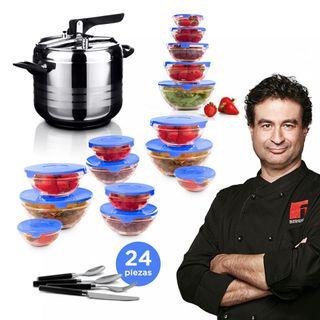 Set de cocina con olla express de 7L