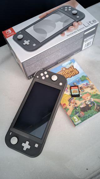 Nintendo Switch Lite gris con Animal Crossing