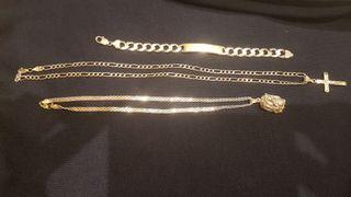 cadenas, pulsera y colgantes de plata