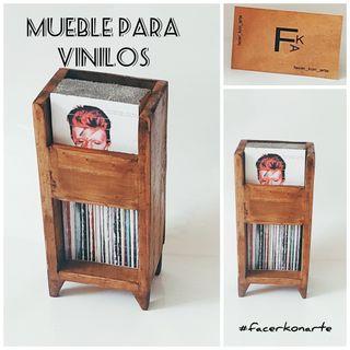 MUEBLE PARA DISCOS DE VINILO, ARTESANAL