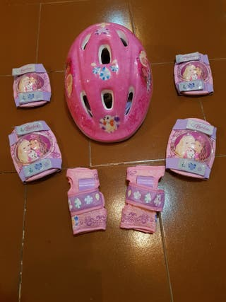 Casco + Rodilleras + Coderas Princesas Disney