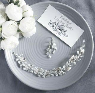 Tiara + Pendientes conjunto joya novia, invitada