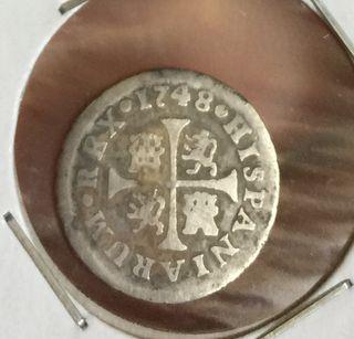 Moneda de Ferdin vi 1748 1/2 real plata