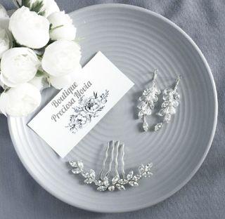 Tocado + Pendientes novia invitada a boda fiesta