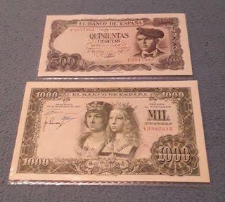 2 billetes de 1000 y 500 pesetas