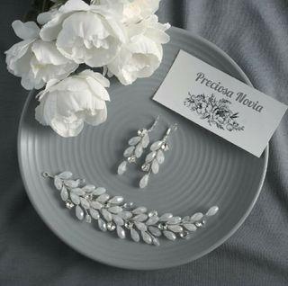 Tiara Novia + Pendientes a juego invitada boda
