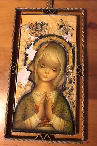 Cuadro azulejo antigua virgen