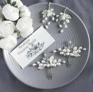 2 Tocados + Pendientes novia invitada boda regalo