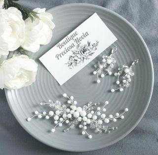 Swarovski cristal +ónix Tocado novia + pendientes