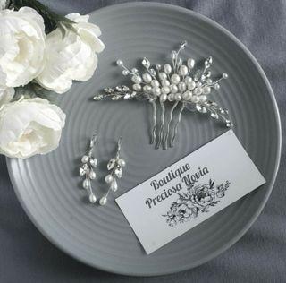 Perla Agua Dulce Tocado + Pendientes novia boda