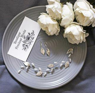 Tiara + Pendientes plata de Ley tocado novia boda