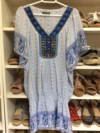 Camisa suave tonos azules ideal