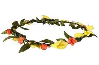 Corona de flores, tocado naranja y amarilla. Nueva