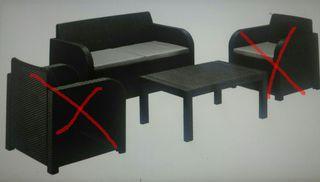 1 sofà (2 plazas) y 1 mesa para jardin