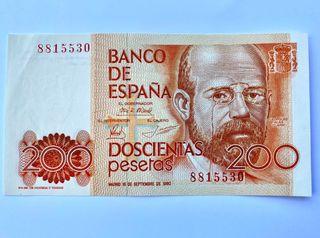 Billete 200 pesetas 1980. Sin circular