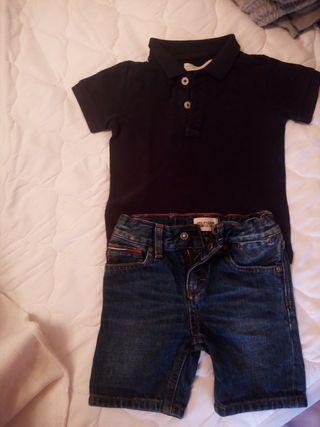 pantalón corto Tommy Hilfiger y polo de zara