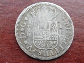1 real de Felipe V de 1728 y ceca de Segovia
