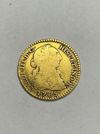 Moneda oro 1 escudo 1785 Carlos III madrid