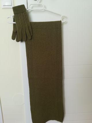 bufanda y guantes lana