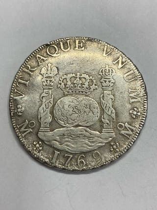 Moneda plata 8 reales columnario 1769 mexico