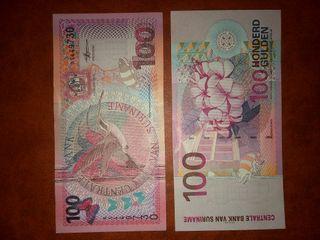 billete 100 gulden surinam