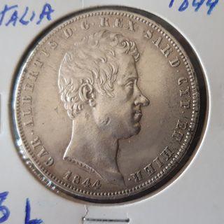 Moneda 5 Liras plata Cerdeña 1844