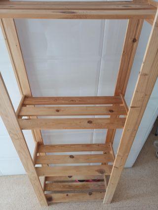 estantería, estante de madera