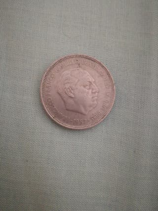 moneda franco 5 pesetas 1957