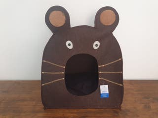 NUEVA - Casa para gatos con forma de ratón marrón