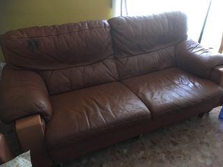 Sofa cuero marrón