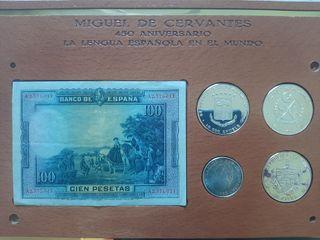 colección monedas plata 450 aniversario Cervantes