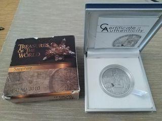 Moneda de plata pura Tesoros del mundo: Zafiro