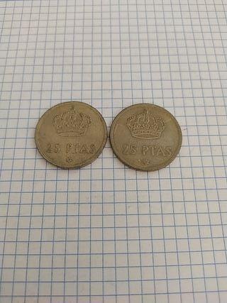 monedas de 25 pesetas. 1975.